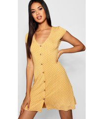 cap sleeve button through shift dress, mustard