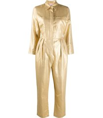 nude straight-leg jumpsuit - gold