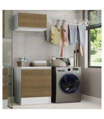 kit área de serviço madesa topazio 60 cm com armário e balcão - branco/rustic branco/rustic