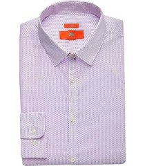egara orange men's pink print extreme slim fit dress shirt - size: 16 1/2 32/33