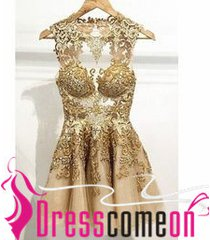 2015 new style champagne lace tulle short backless prom dress homecoming dresses