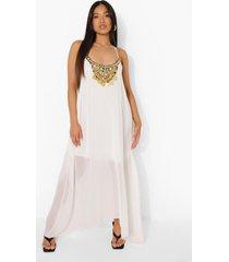 petite maxi jurk met zakdoekzoom en kralen, ivory