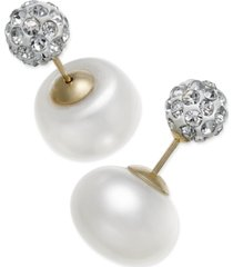 cultured freshwater pearl (11mm) and cubic zirconia reversible front and back earrings in 14k gold