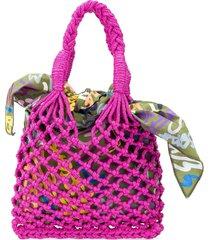 m missoni open knit tote - pink
