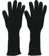 pringle of scotland ribbed scottish gloves - black