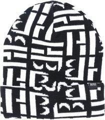 boss kidswear all-over logo knit beanie - black