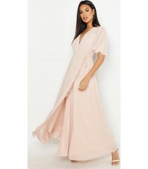 chiffon angel sleeve maxi dress, blush