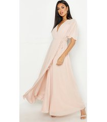 chiffon angel sleeve wrap maxi bridesmaid dress, blush