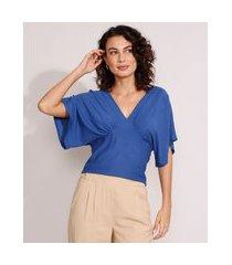 blusa ampla com recorte manga curta decote v azul