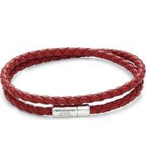 tateossian men's double wrap slim pop leather & sterling silver bracelet
