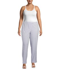 anne klein plus size striped high-rise pants