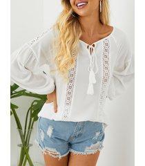 yoins blanco hueco diseño redondo cuello blusa de manga larga