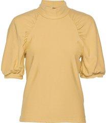 rifagz ss turtleneck blouses short-sleeved geel gestuz