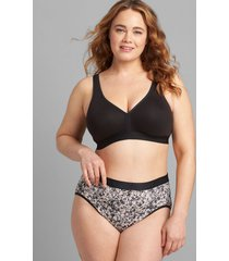lane bryant women's cotton high-leg brief panty with wide waistband 34/36 bright summer floral