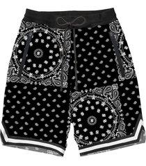 mc2 saint barth black bandana swim shorts with tape finish