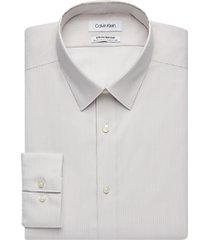 calvin klein infinite non iron taupe stripe slim fit dress shirt