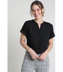 camisa feminina com martingale manga curta preta