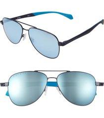 men's boss 1077/s 60mm aviator sunglasses - matte blue