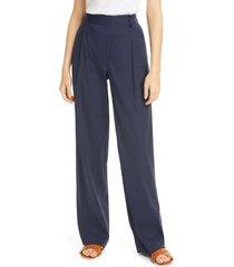 women's vince pleat front pull-on linen blend trousers