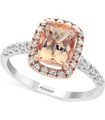 gemstone bridal by effy morganite (1-1/5 ct. t.w.) & diamond (1/3 ct. t.w.) ring in 18k white gold and rose gold