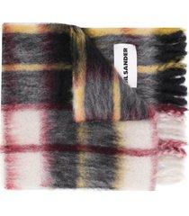 jil sander check mohair scarf - neutrals