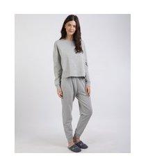 pijama de moletom feminino com faixa lateral manga longa cinza mescla