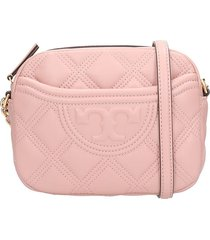 tory burch camera bag shoulder bag in rose-pink leather