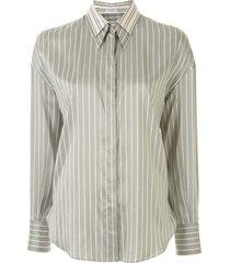 brunello cucinelli double-collar striped shirt - green