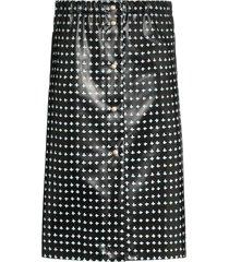 supriya lele cross-print rubber midi skirt - black
