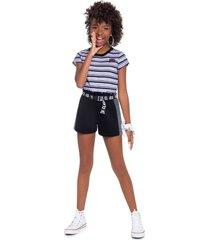 shorts moletinho young class preto