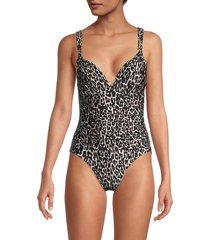 calvin klein women's leopard one-piece swimsuit - black ikat - size 6