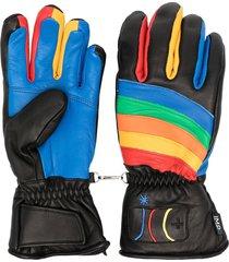 rossignol rainbow detail sheepskin gloves - black