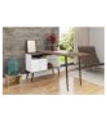mesa para escritório em l com pés retrô - branco/rústico