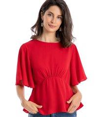 blusa pliegues rojo nicopoly