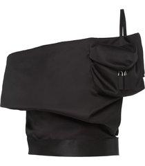 prada off-shoulder belted top - black