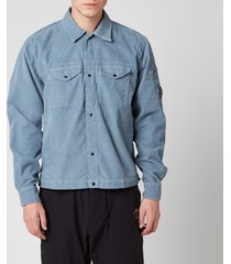 c.p. company men's corduroy shirt - blue fog - xxl