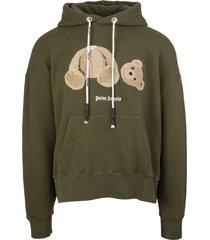palm angels man military green bear hoodie