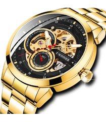 reloj automatico winner 897 skeleton - dorado