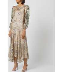 preen by thornton bregazzi women's satin devore scarlett dress - stone gypsy floral - l - beige