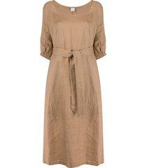aspesi 3/4 sleeves tie-waist dress - brown