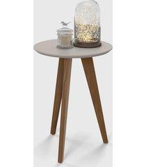 mesa lateral liv cinza / eco wood - marrom - dafiti