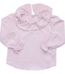 blusa cuello cuadrille rosa maría pompón
