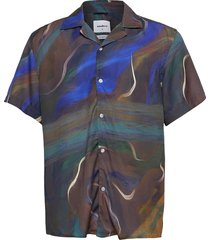 maha cuba shirt overhemd met korte mouwen blauw woodbird
