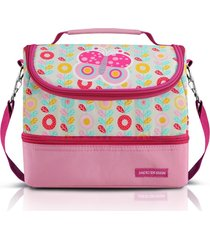 lancheira térmica 2 compartimentos infantil borboleta jacki design pequeninos rosa