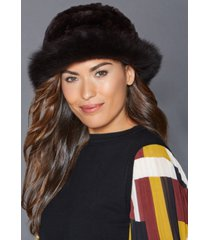 the fur vault fox-trim rabbit fur hat