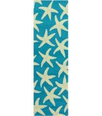 "surya rain rai-1137 bright blue 2'6"" x 8' runner area rug, indoor/outdoor"