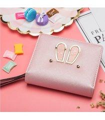 billetera mujeres- 2018 cremallera monedero oreja de-rosa