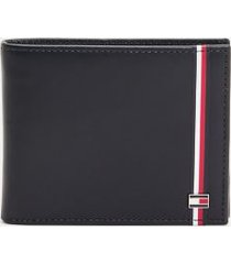 tommy hilfiger men's leather mini credit card wallet desert sky -
