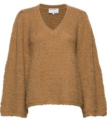 caress v-neck sweater stickad tröja brun designers, remix