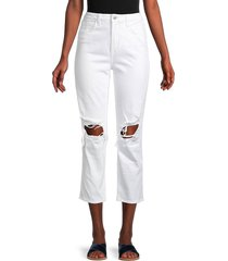 l'agence women's audrina ripped straight-leg cropped jeans - blanc worn - size 27 (4)